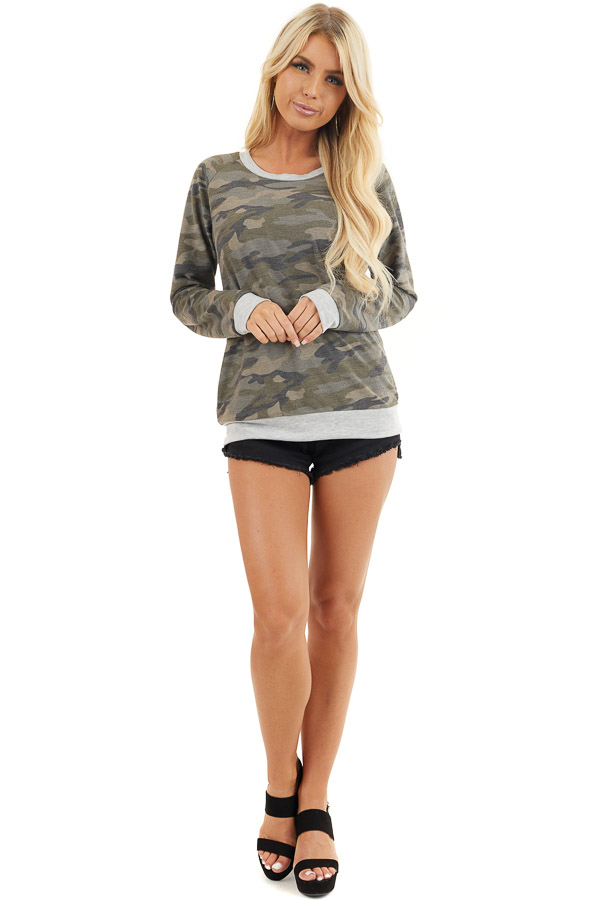 Olive Camo Print Lightweight Sweater with Heather Grey Trim front full body