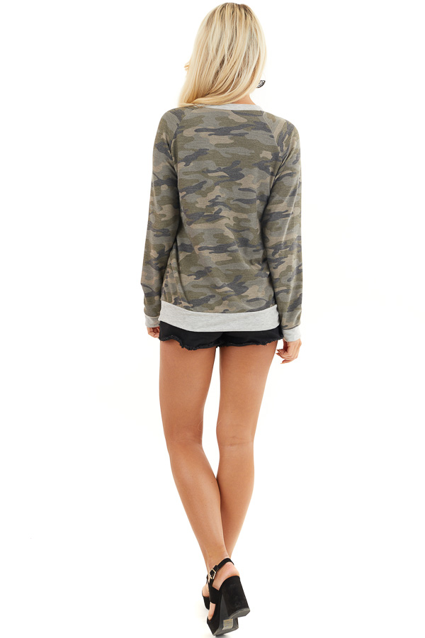 Olive Camo Print Lightweight Sweater with Heather Grey Trim back full body