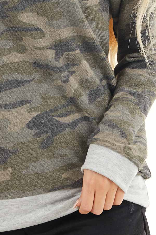 Olive Camo Print Lightweight Sweater with Heather Grey Trim detail