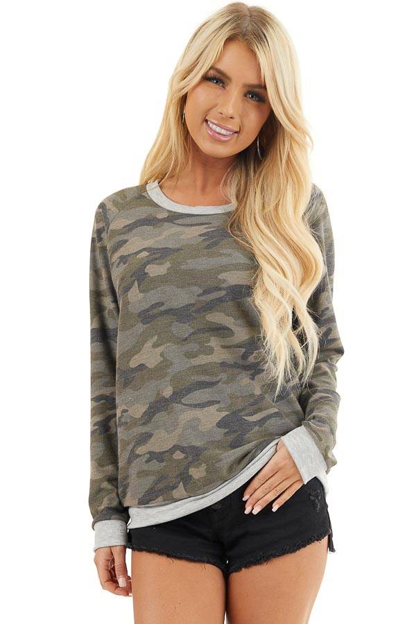 Olive Camo Print Lightweight Sweater with Heather Grey Trim front close up