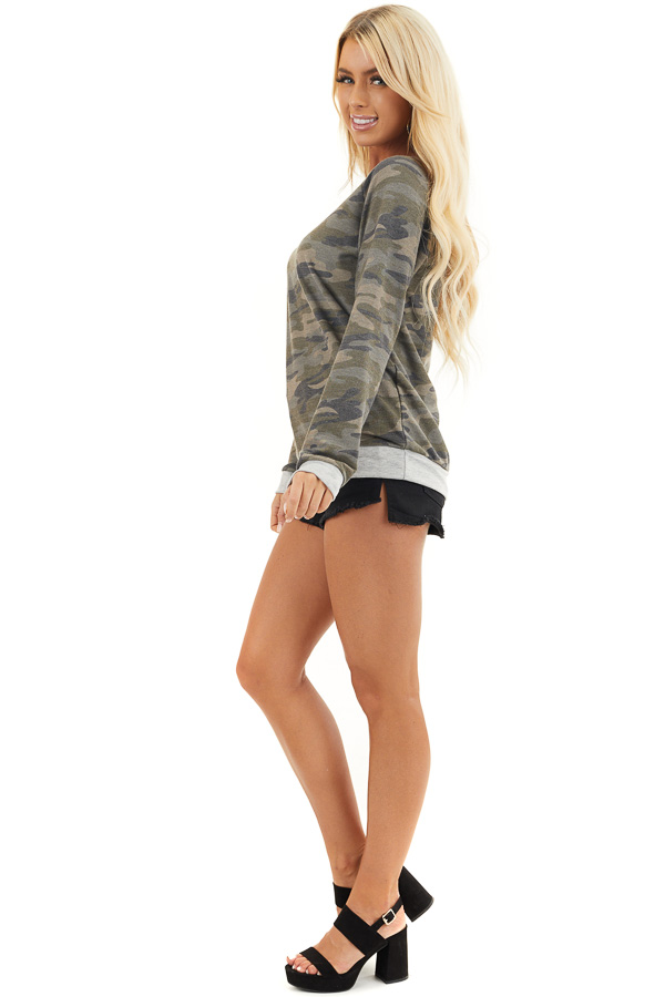 Olive Camo Print Lightweight Sweater with Heather Grey Trim side full body