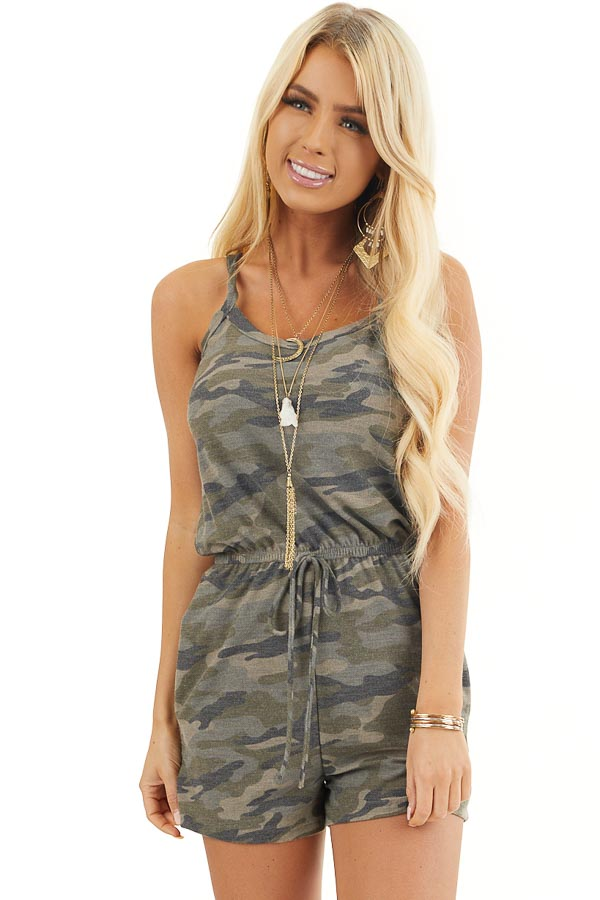 Sage Camo Print Sleeveless Romper with Waist Tie and Pockets front close up