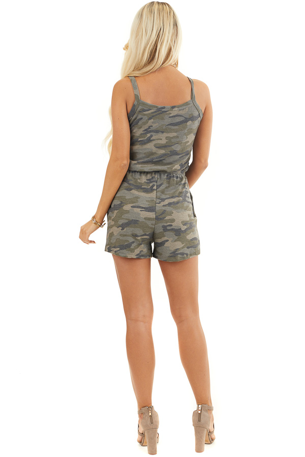 Sage Camo Print Sleeveless Romper with Waist Tie and Pockets back full body