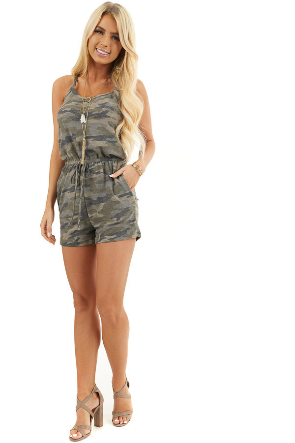Sage Camo Print Sleeveless Romper with Waist Tie and Pockets front full body