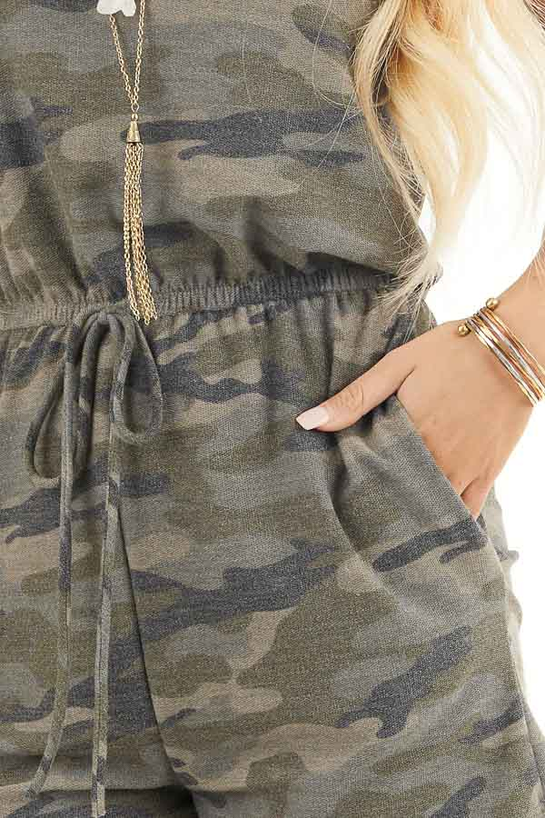 Sage Camo Print Sleeveless Romper with Waist Tie and Pockets detail