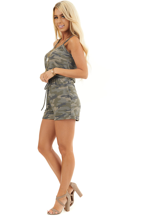 Sage Camo Print Sleeveless Romper with Waist Tie and Pockets side full body