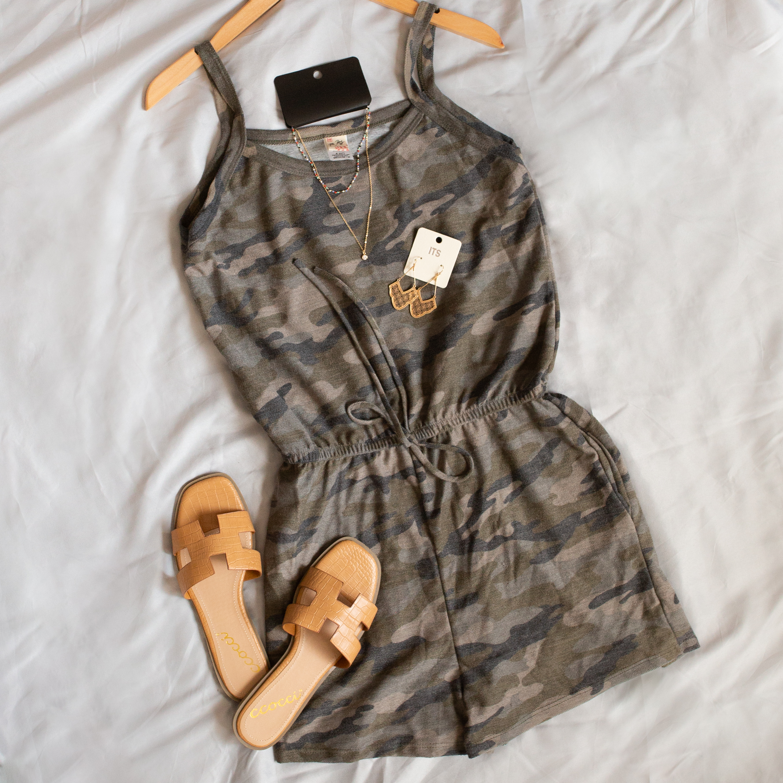 Sage Camo Print Sleeveless Romper with Waist Tie and Pockets