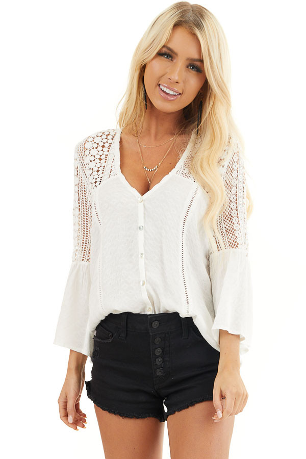 White Button Up Blouse with 3/4 Sleeves and Sheer Lace Yoke front close up