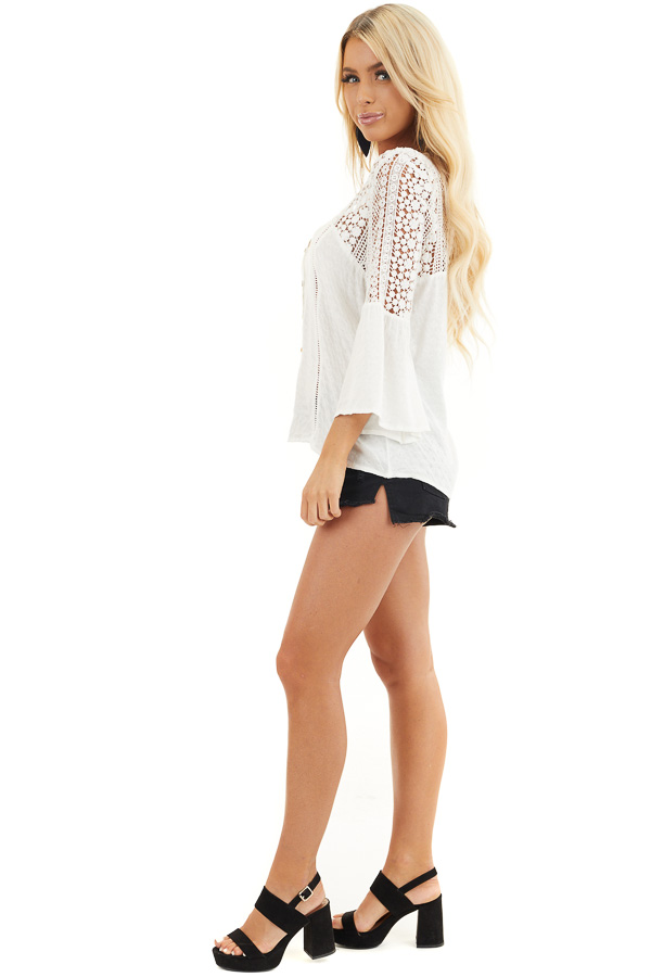 White Button Up Blouse with 3/4 Sleeves and Sheer Lace Yoke side full body