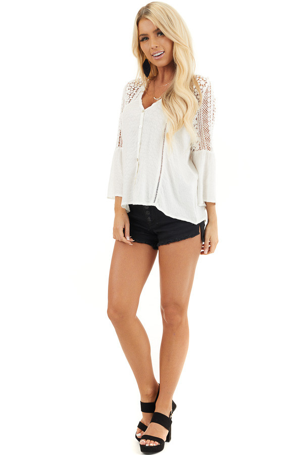 White Button Up Blouse with 3/4 Sleeves and Sheer Lace Yoke front full body