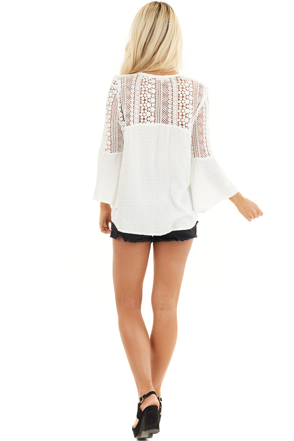 White Button Up Blouse with 3/4 Sleeves and Sheer Lace Yoke back full body