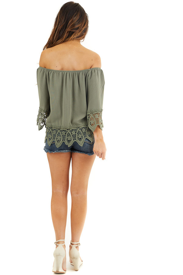 Olive Off the Shoulder Woven Top with Crochet Lace Details back full body