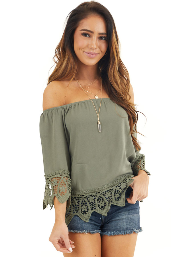 Olive Off the Shoulder Woven Top with Crochet Lace Details front close up