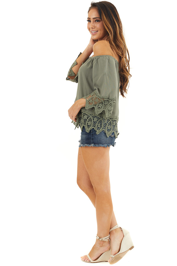 Olive Off the Shoulder Woven Top with Crochet Lace Details side full body