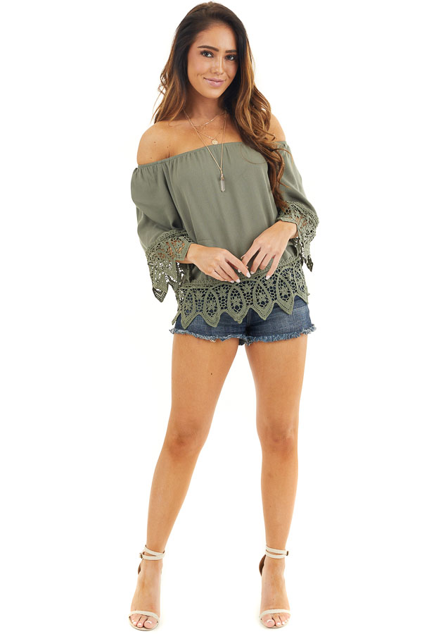Olive Off the Shoulder Woven Top with Crochet Lace Details front full body