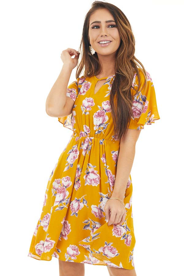 Yellow Short Sleeve Floral Mini Dress with Keyhole Details front close up