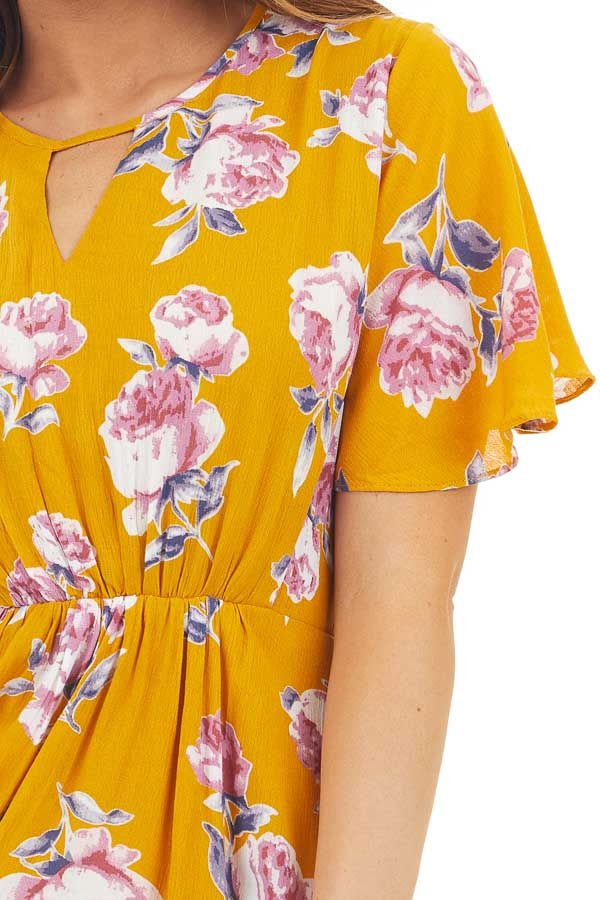 Yellow Short Sleeve Floral Mini Dress with Keyhole Details detail