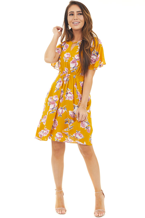 Yellow Short Sleeve Floral Mini Dress with Keyhole Details front full body