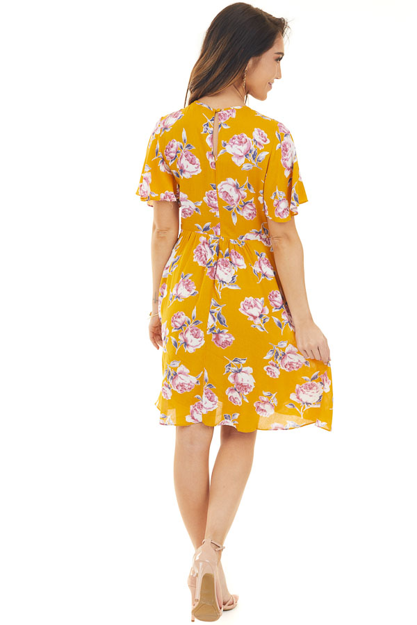 Yellow Short Sleeve Floral Mini Dress with Keyhole Details back full body