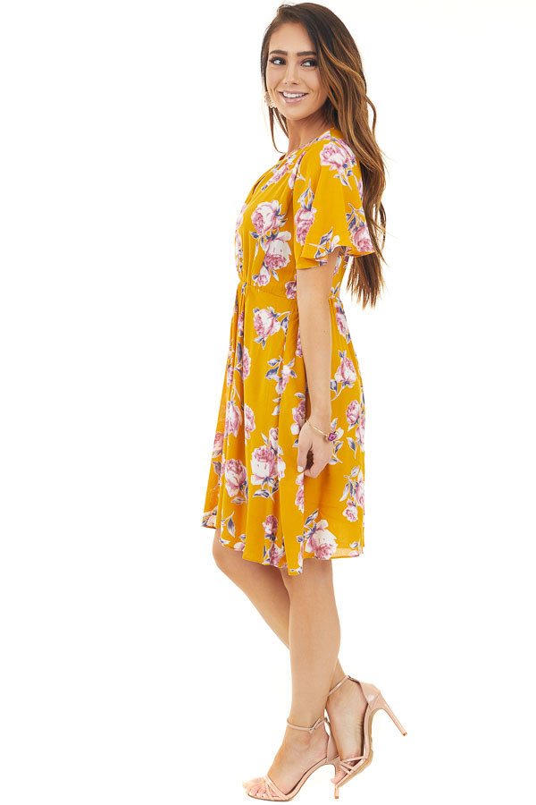 Yellow Short Sleeve Floral Mini Dress with Keyhole Details side full body