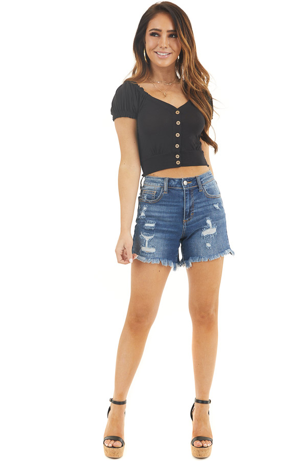 Black Button Up Crop Top with Short Puff Sleeves front full body