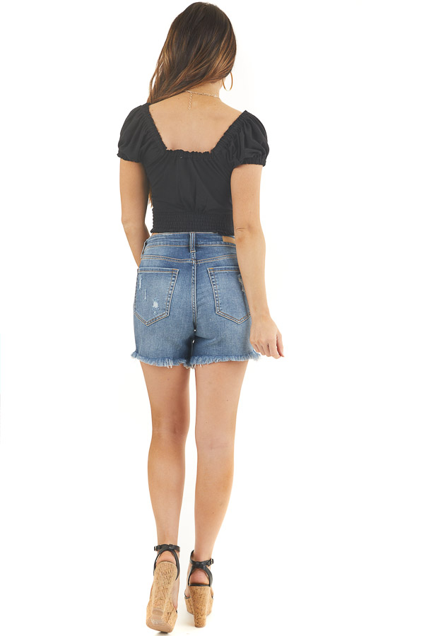 Black Button Up Crop Top with Short Puff Sleeves back full body