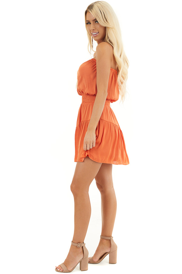 Terracotta Silky Strapless Mini Dress with Tiered Detail side full body