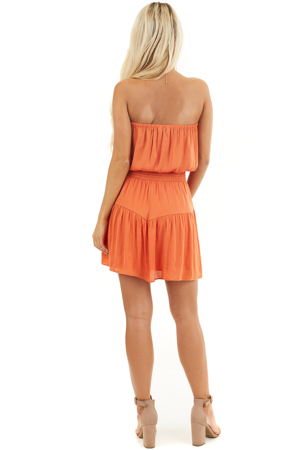 Terracotta Silky Strapless Mini Dress with Tiered Detail back full body