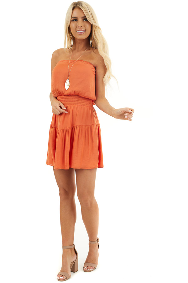 Terracotta Silky Strapless Mini Dress with Tiered Detail front full body