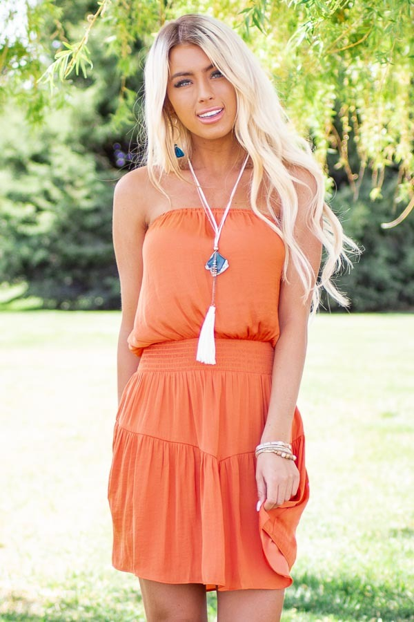 Terracotta Silky Strapless Mini Dress with Tiered Detail