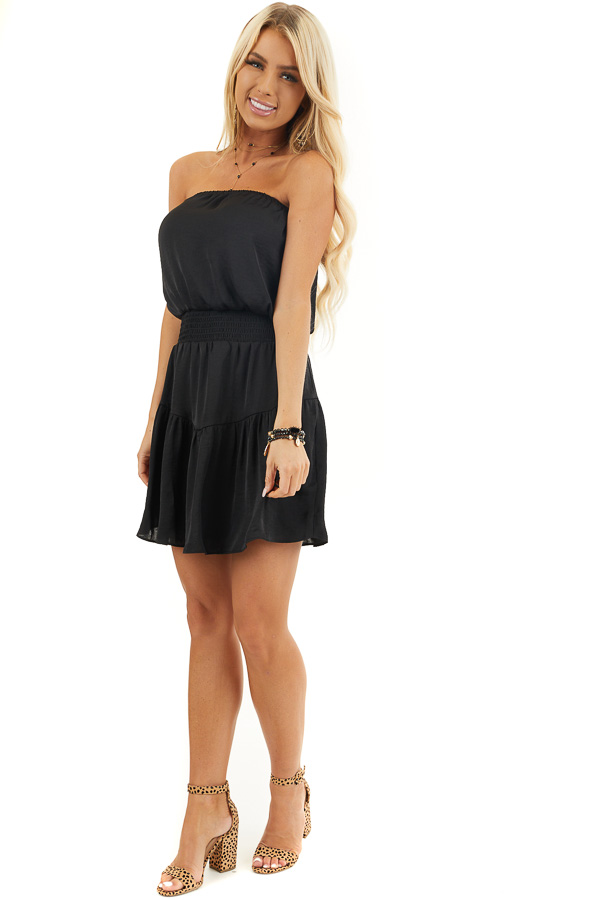 Black Silky Strapless Mini Dress with Tiered Detail front full body