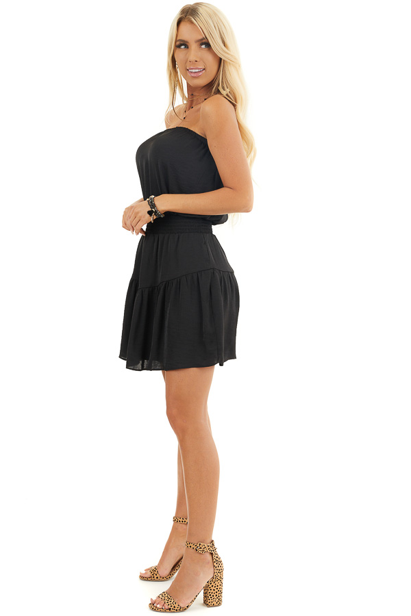 Black Silky Strapless Mini Dress with Tiered Detail side full body