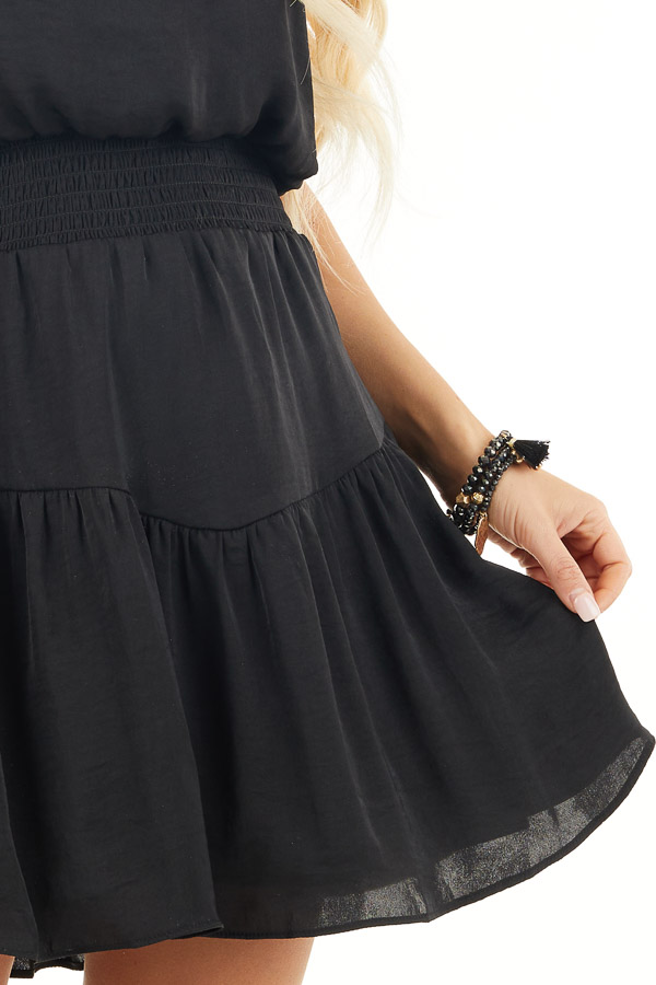 Black Silky Strapless Mini Dress with Tiered Detail detail