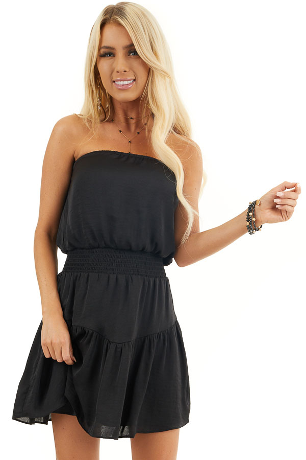 Black Silky Strapless Mini Dress with Tiered Detail front close up