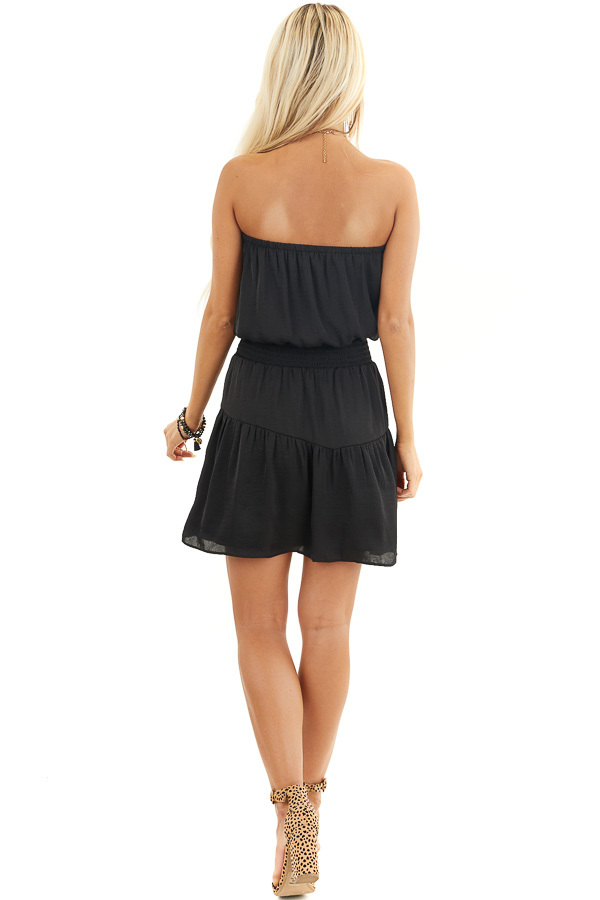 Black Silky Strapless Mini Dress with Tiered Detail back full body