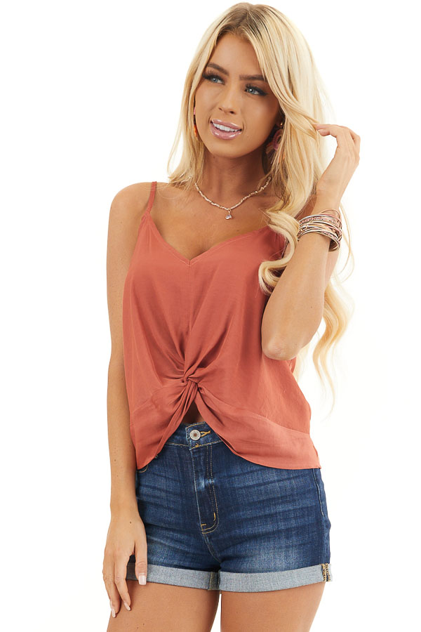 Burnt Orange Woven Cami Top with Front Twist Detail front close up
