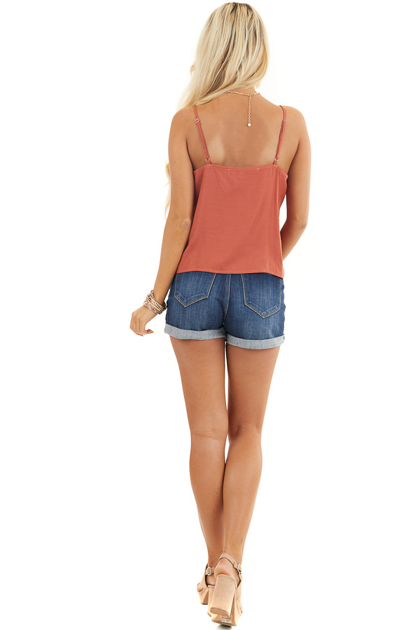 Burnt Orange Woven Cami Top with Front Twist Detail back full body