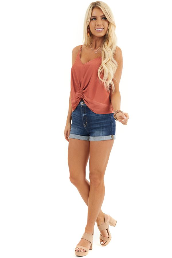 Burnt Orange Woven Cami Top with Front Twist Detail front full body