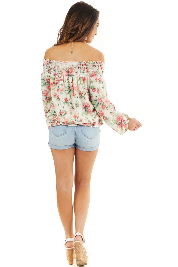 Pearl Floral Print Off Shoulder Smocked Blouse with Ruffles back full body