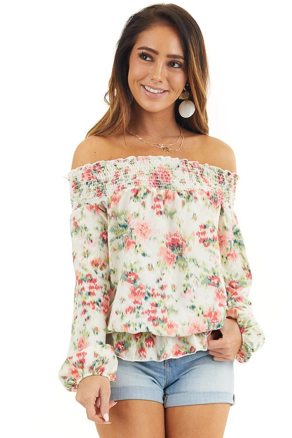 Pearl Floral Print Off Shoulder Smocked Blouse with Ruffles front close up