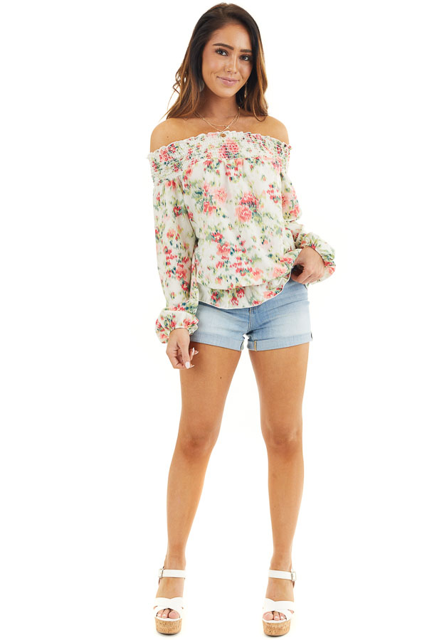 Pearl Floral Print Off Shoulder Smocked Blouse with Ruffles front full body