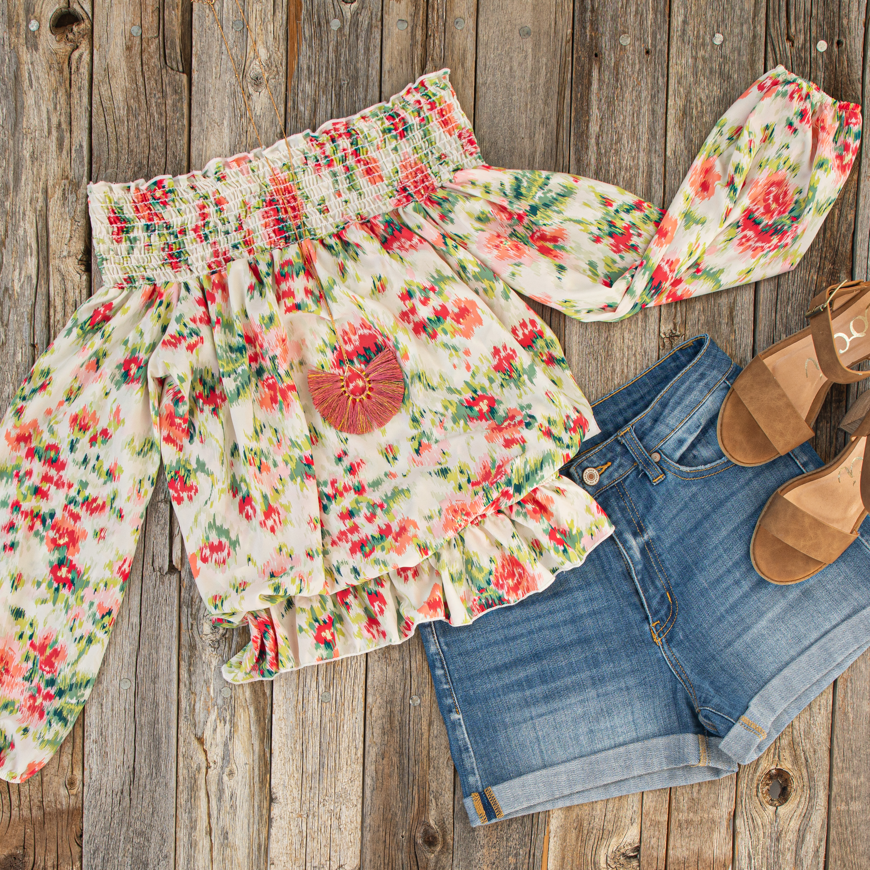Pearl Floral Print Off Shoulder Smocked Blouse with Ruffles