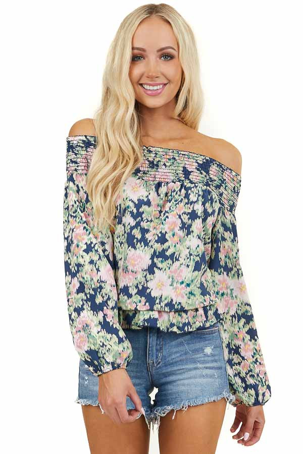 Navy Floral Print Off Shoulder Smocked Blouse with Ruffles