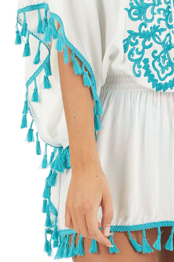 Ivory and Teal Swimsuit Cover Up with Embroidery Details detail