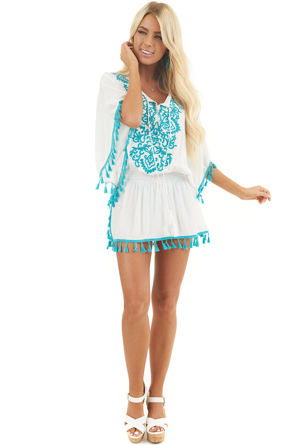 Ivory and Teal Swimsuit Cover Up with Embroidery Details front full body