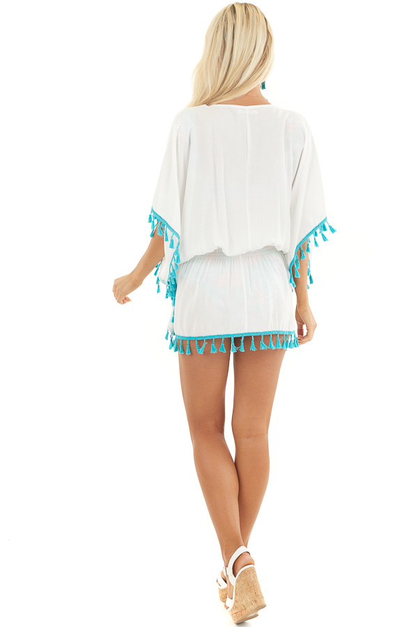 Ivory and Teal Swimsuit Cover Up with Embroidery Details back full body