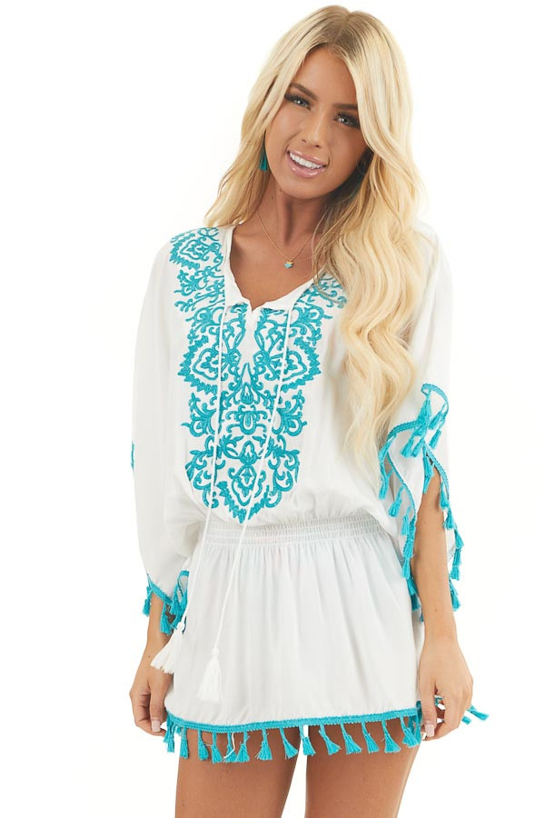 Ivory and Teal Swimsuit Cover Up with Embroidery Details front close up