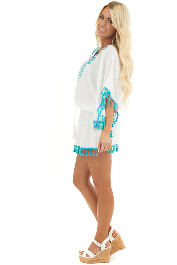 Ivory and Teal Swimsuit Cover Up with Embroidery Details side full body
