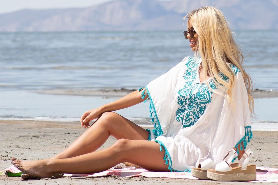 Ivory and Teal Swimsuit Cover Up with Embroidery Details