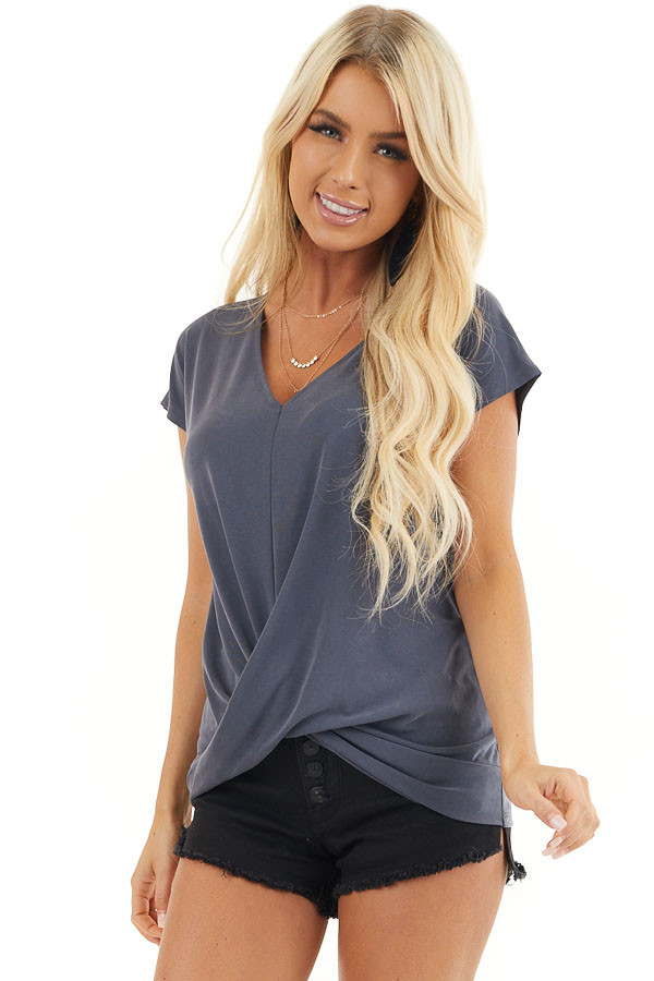 Stormy Blue V Neck Knit Top with Front Twist Detail front close up